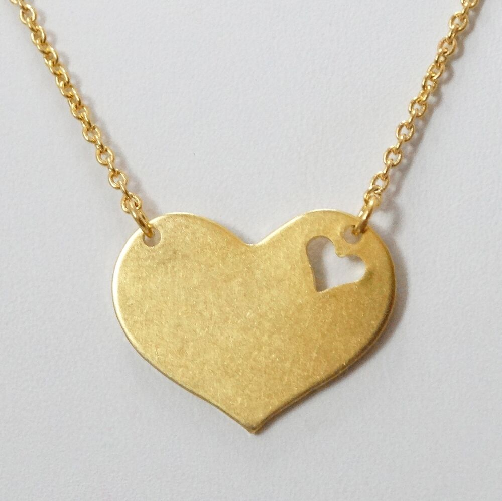 piece of my heart necklace 24k gold plated brass. Black Bedroom Furniture Sets. Home Design Ideas