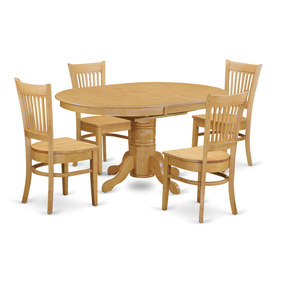 5pc oval dinette kitchen dining room set table w 4 wood for Wood dining room furniture