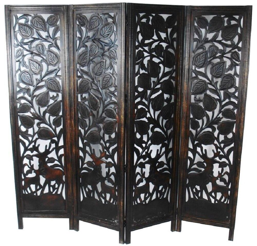 Panel hand carved stag deer folding wooden screen room