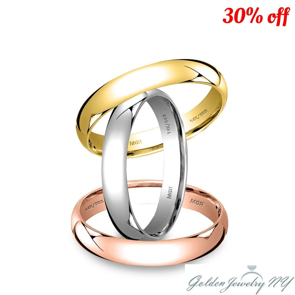 Solid 14k White Yellow Rose Gold Plain Comfort Fit Wedding