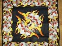 "SKULLS FIRE DESIGN BANDANNA (LARGE  21"")"