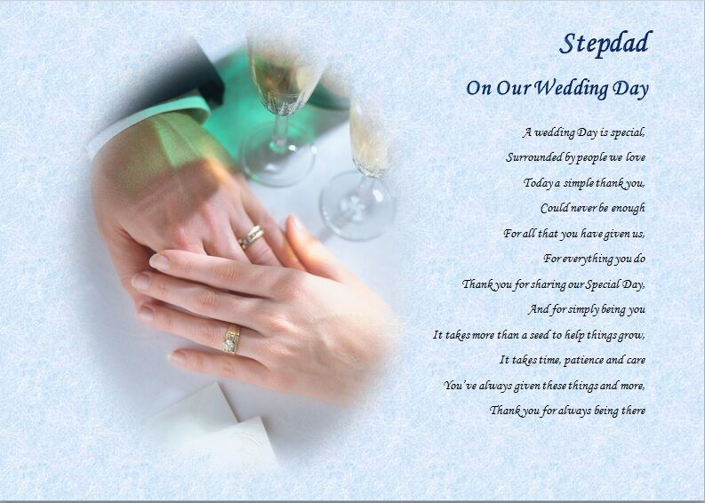 STEPDAD/STEPFATHER on our wedding Day (Laminated Gift) eBay