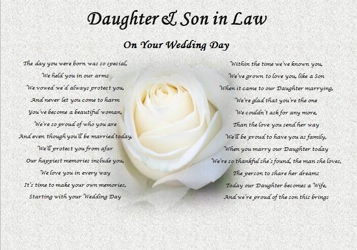 Special Wedding Gifts For Son And Daughter In Law : DAUGHTER & SON IN LAW- Wedding Day (Poem gift)rose eBay