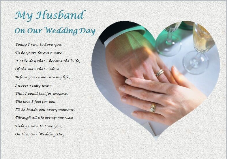 Sentimental Gift For Groom On Wedding Day : HUSBAND - ON OUR WEDDING DAY (personalised gift) eBay
