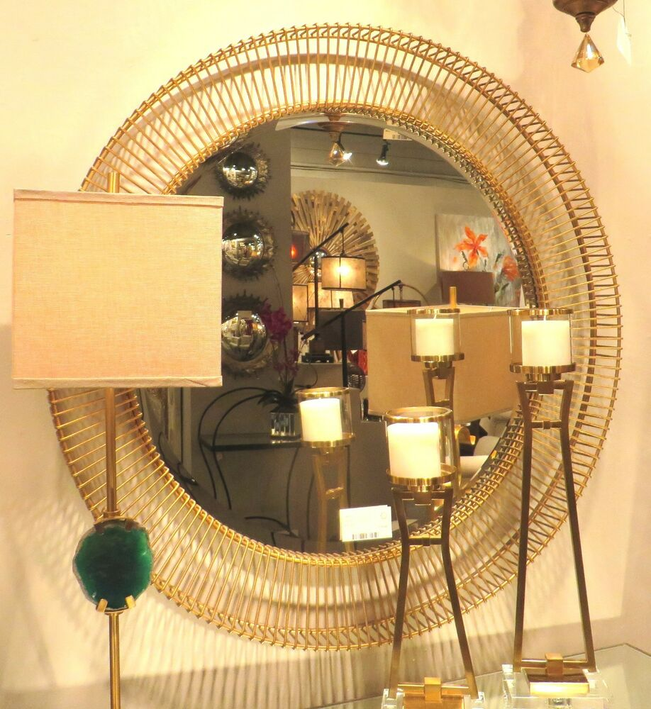 luxe 40 round gold wire frame wall mirror vanity mantel metal bronze open ebay. Black Bedroom Furniture Sets. Home Design Ideas