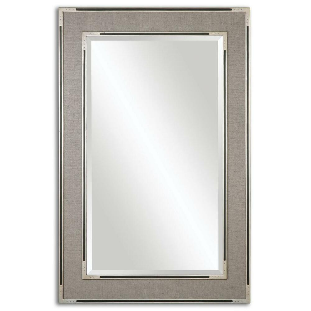 61 beige fabric frame wall mirror floor leaner for Floor wall mirror