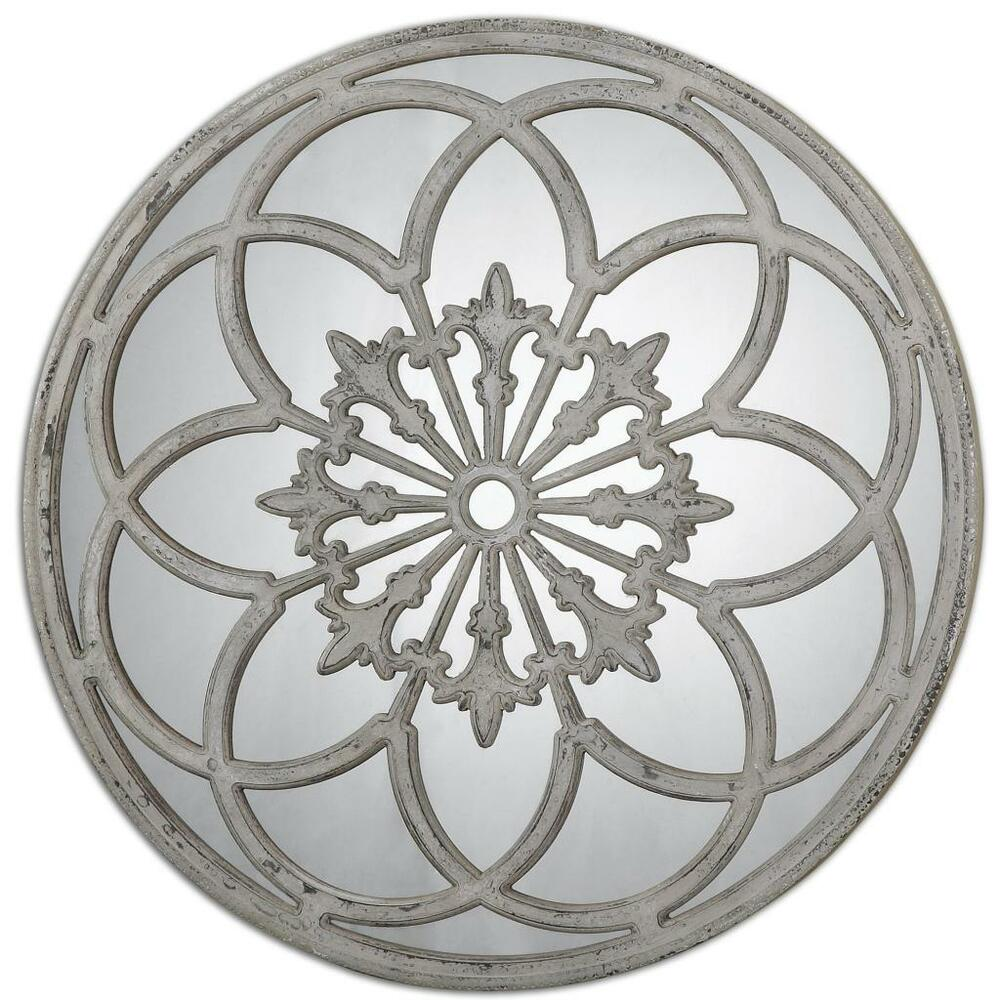 gorgeous 40 cottage white round window wall mirror architectural floral art - Home Decor Mirrors