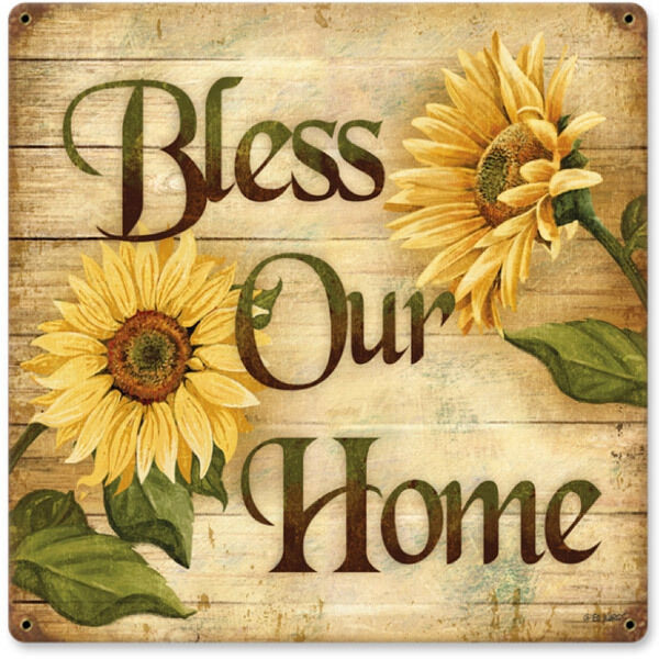 Sunflower Metal Sign Vintage Bless Our Home Country