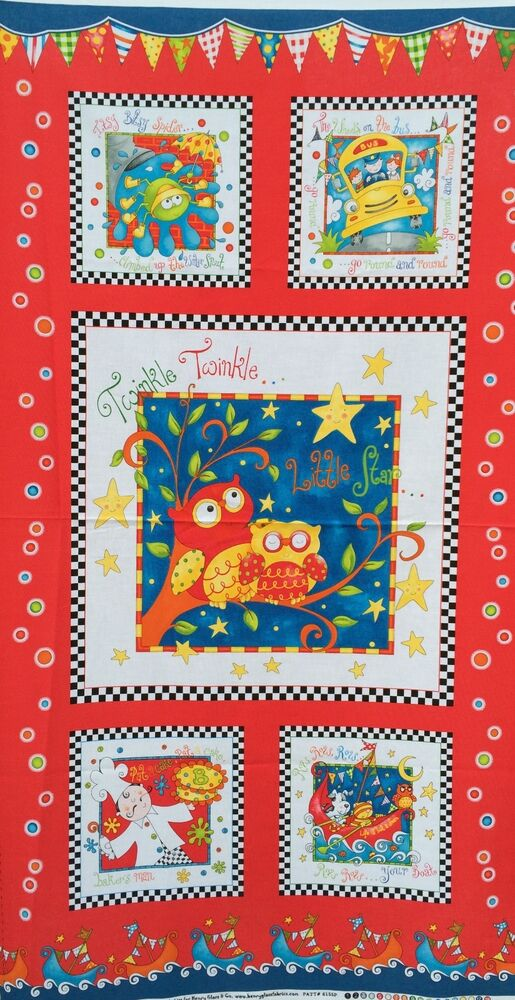 Henry glass fabric rhyme time 24 panel children nursery for Children s fabric panels
