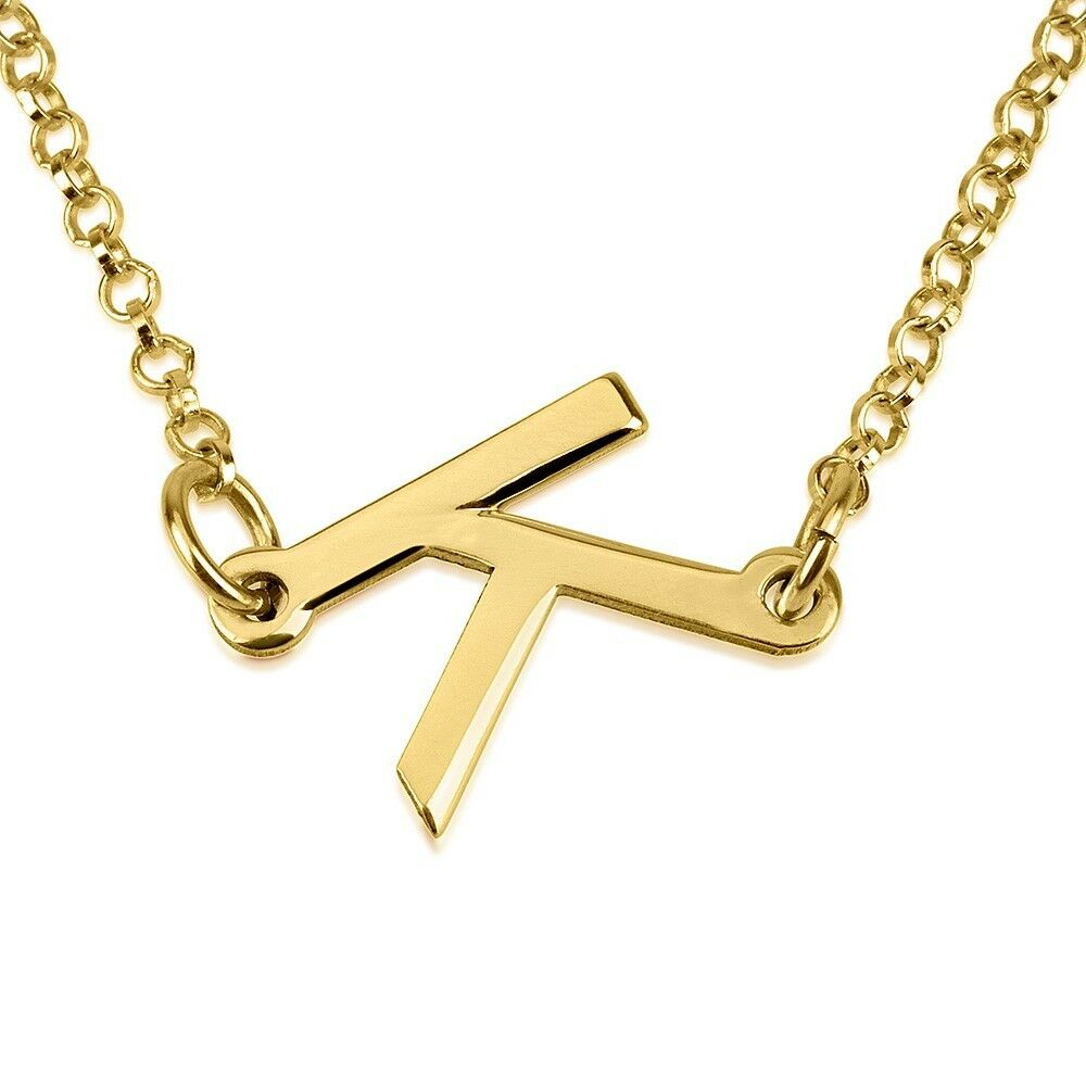 Personalized sideways initial necklace any letter for Custom letter necklace gold