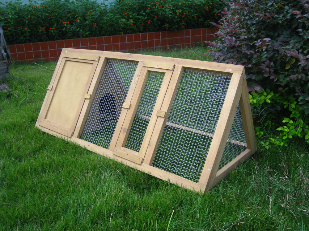 Wooden triangle rabbit hutch and run cage guinea pig for How to build a guinea pig hutch