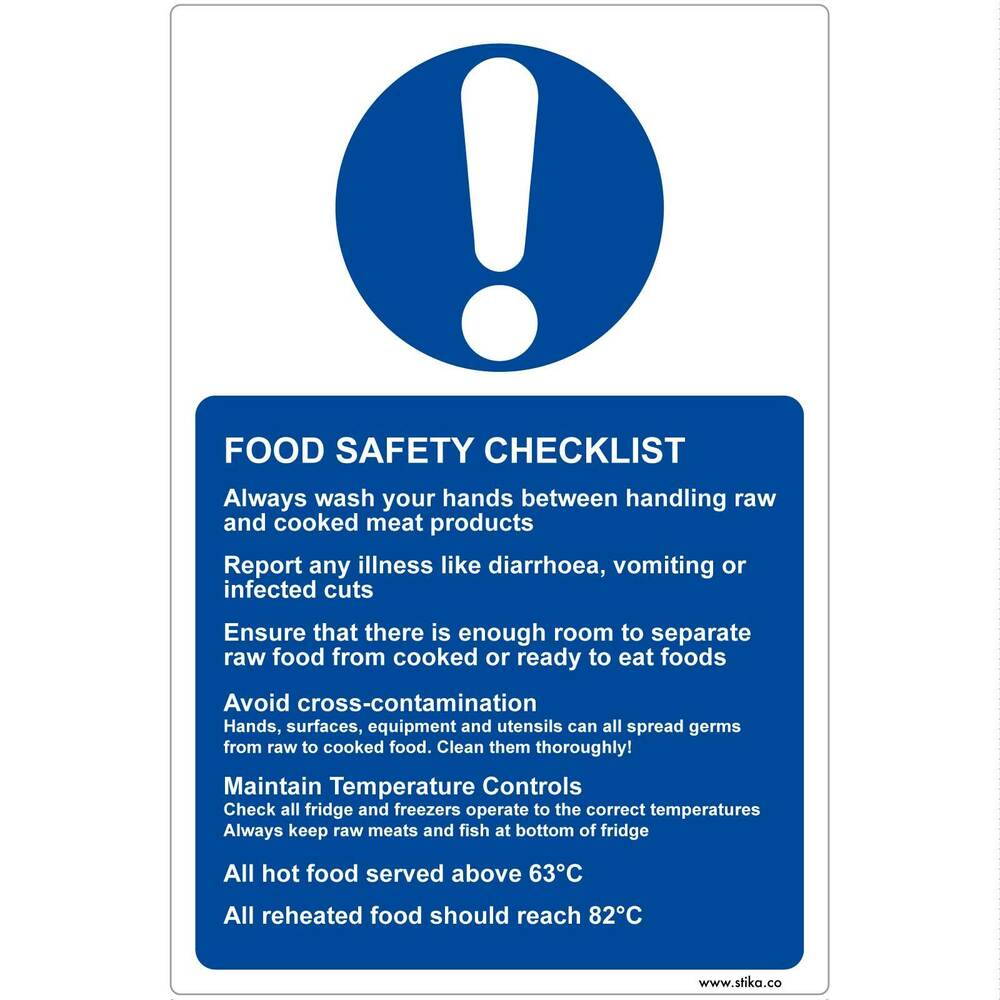 Food Safety Checklist vinyl Sticker Sign for Kitchens (13x20cm ...