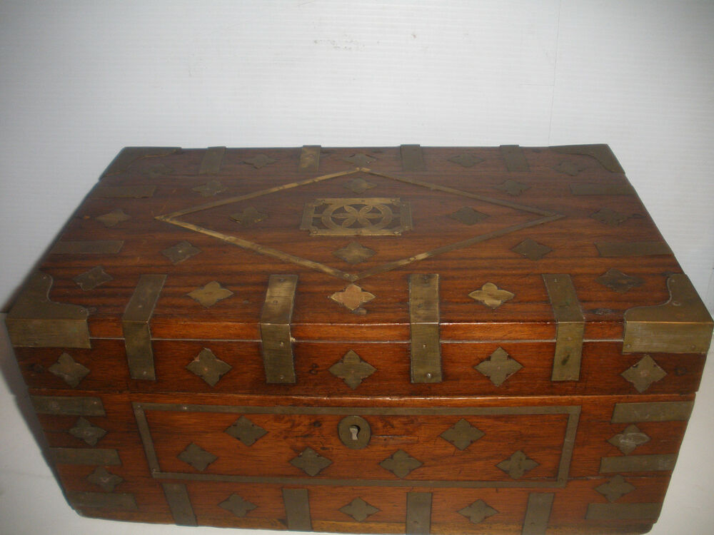 Great Antique Early Wood Document Box 2 Handle Brass