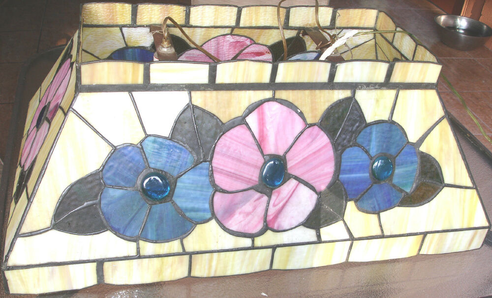 Vintage Stain Lead Glass Stained Hanging Ceiling Pendant Floral Light Fixture Ebay
