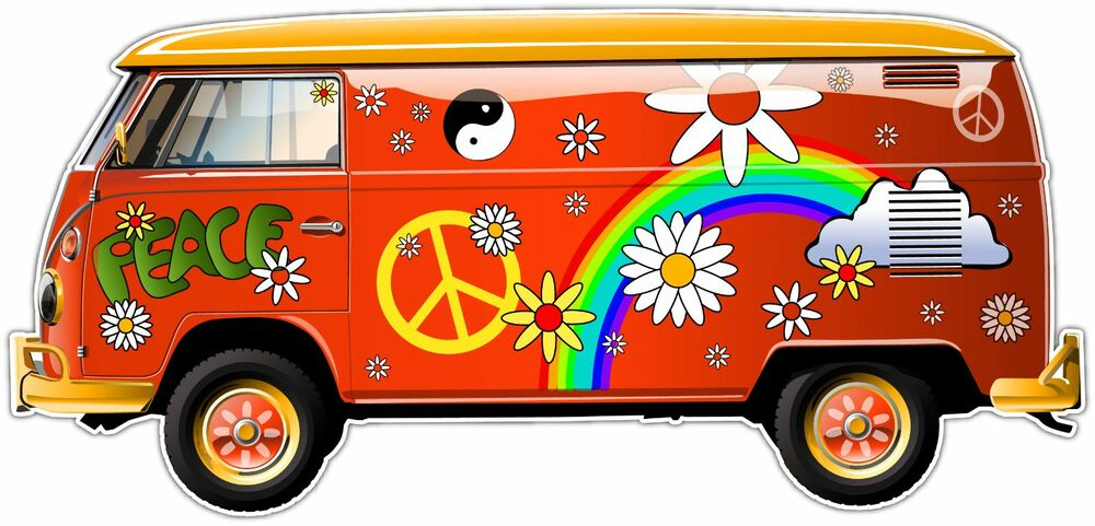 Hippie Bus Vehicles Volkswagen Car Bumper Window Sticker