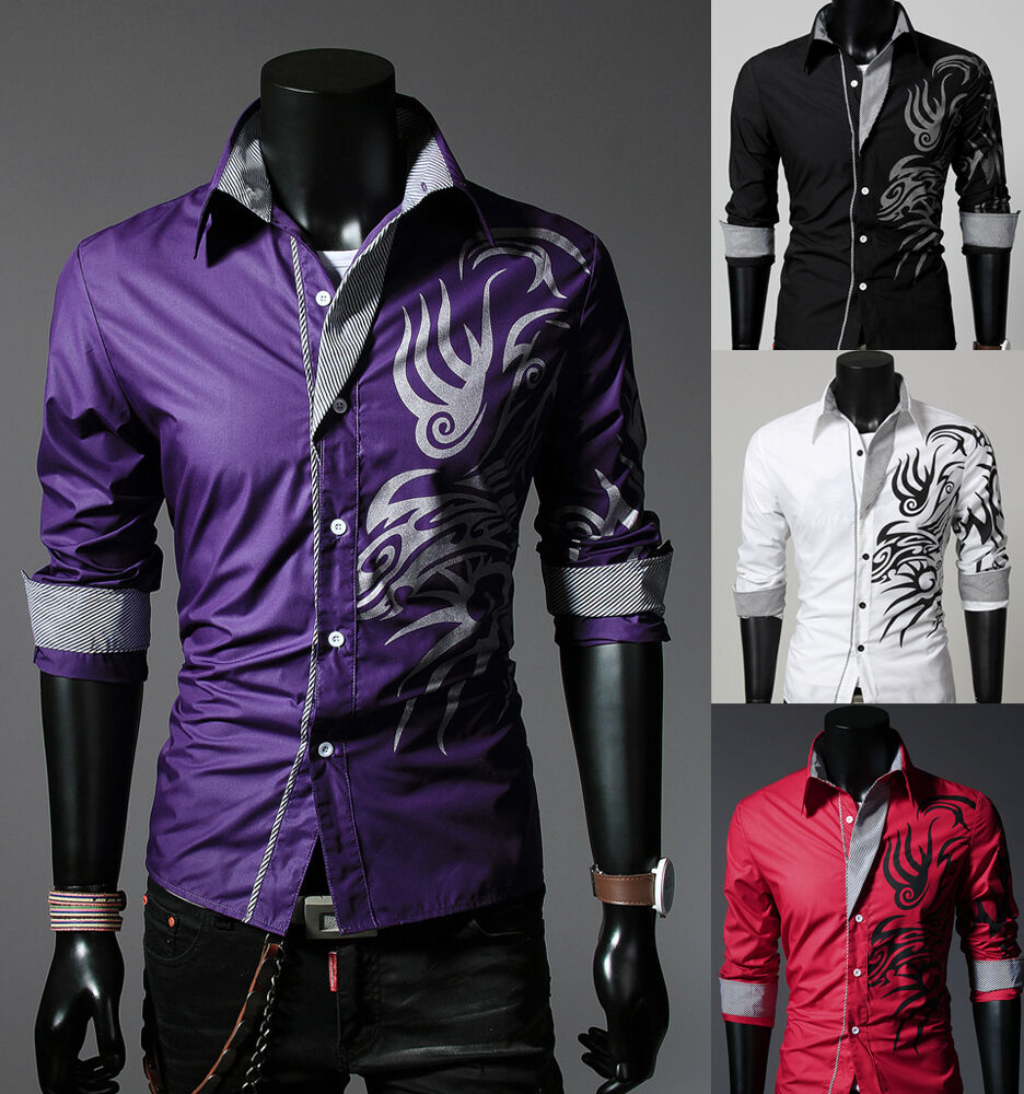 New mens fashion luxury casual slim fit stylish long for How to find a dress shirt that fits