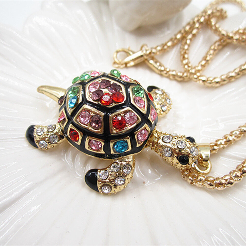 Gold plated crystal black cute tortoise sea turtle charm for Is gold plated jewelry worth anything