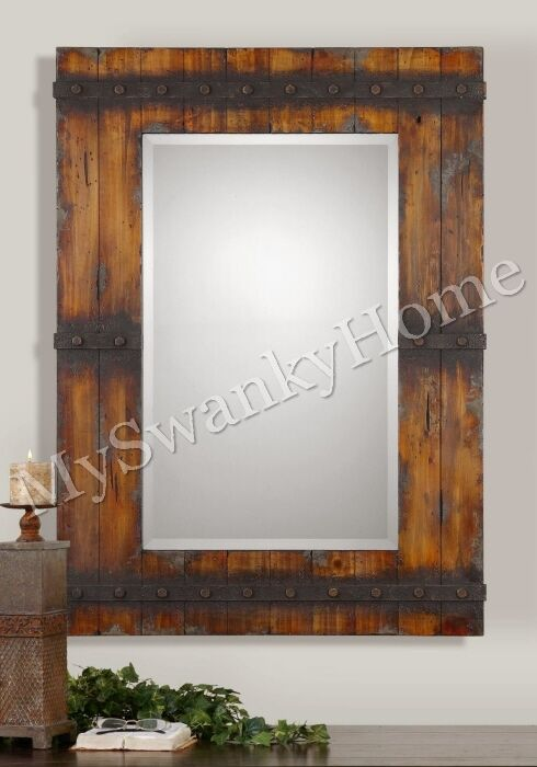 Extra large 43 rustic wood wall mirror vanity mantle horchow cabin lodge ranch ebay for Rustic vanity mirrors for bathroom