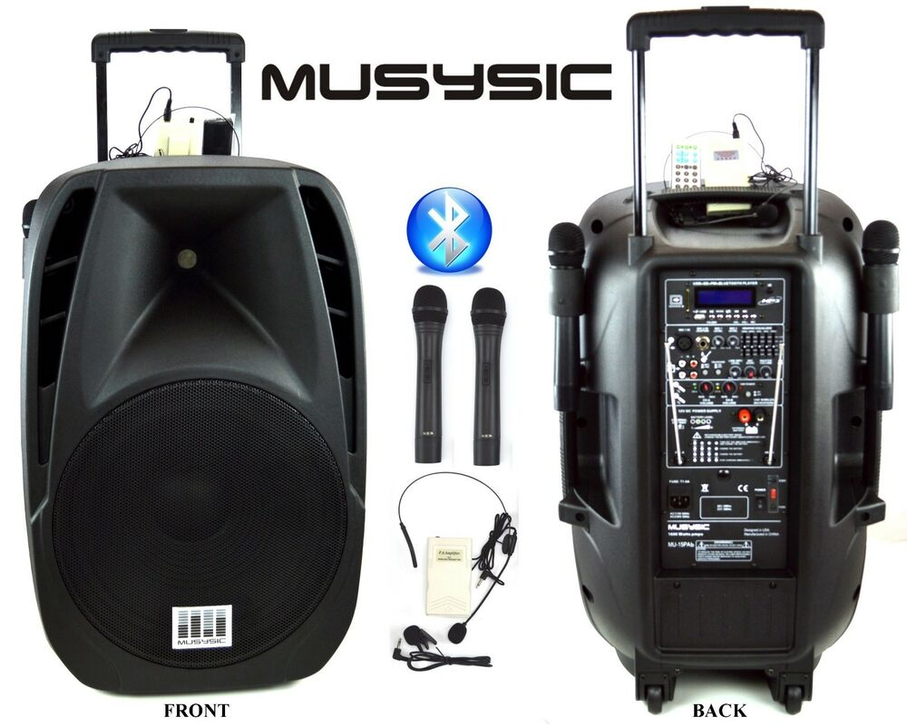 1600w professional 15 speaker pa system 2 wireless mics bluetooth rechargeable ebay. Black Bedroom Furniture Sets. Home Design Ideas