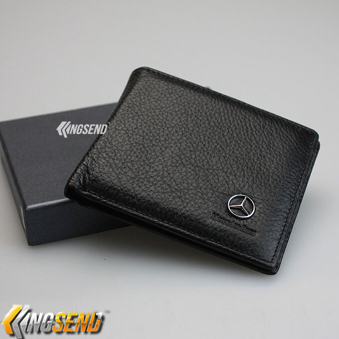 Mercedes benz wallet genuine 100 cow leather bifold men for Mercedes benz leather