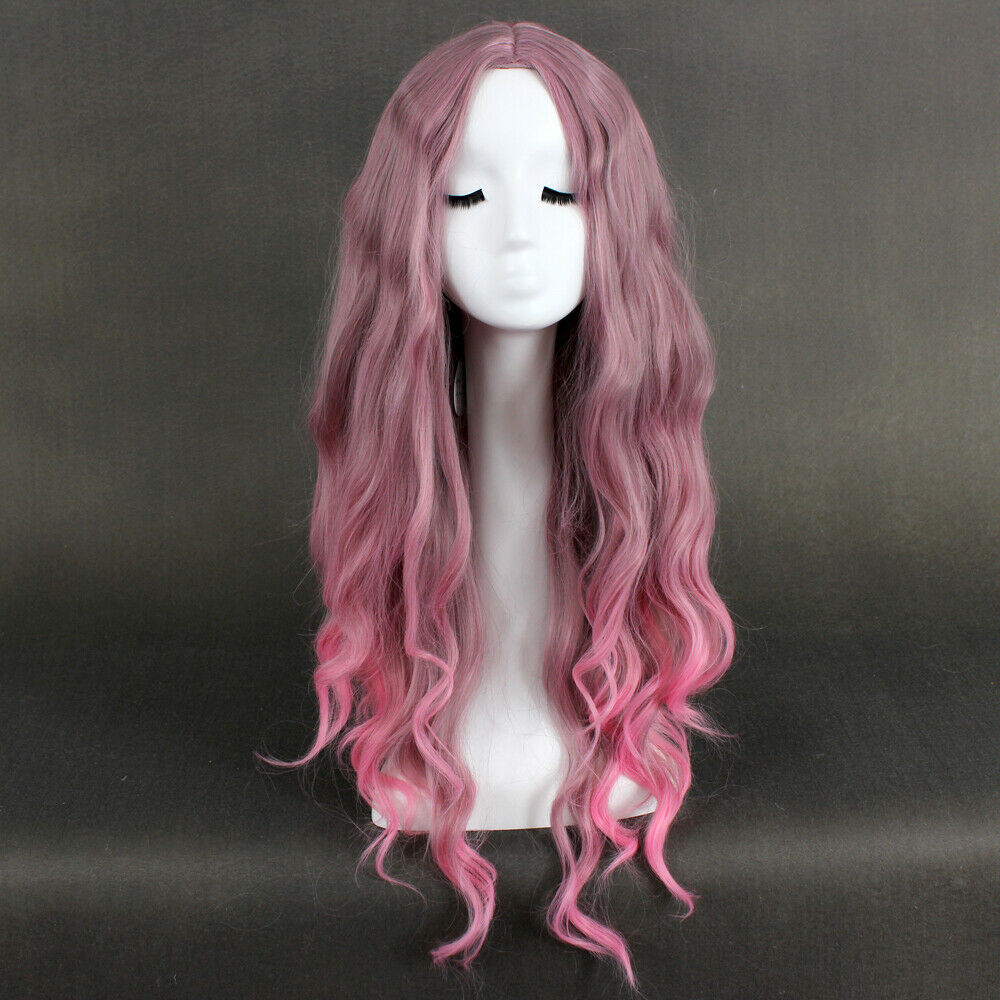 75cm Long Taro Pink Wavy Curly Anime Cosplay Wig Cc111 A