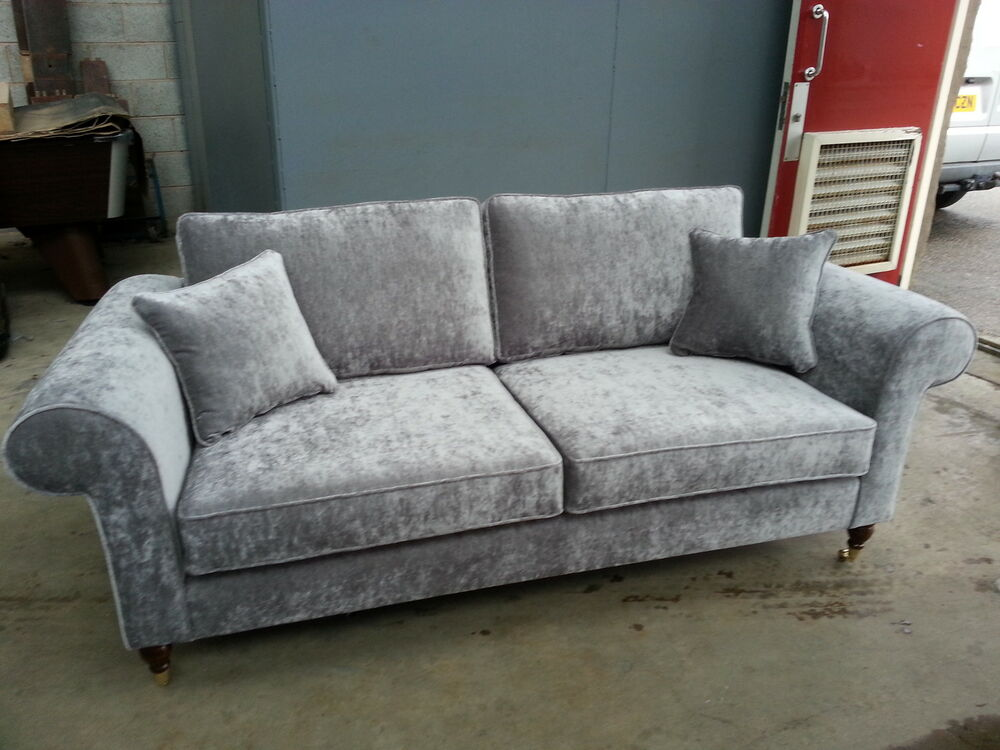 Bespoke 3 seater sofa settee silver grey velvet various for Blue grey couch