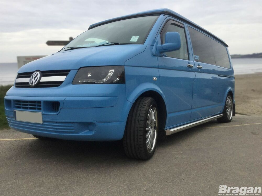2004 2015 volkswagen vw transporter t5 caravelle lwb stainless side bars ebay. Black Bedroom Furniture Sets. Home Design Ideas