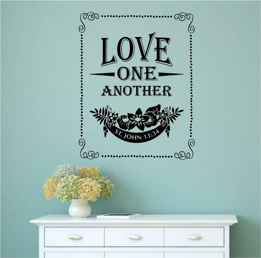 Love One Another Bible Verse Vinyl Decal Wall Art Stickers