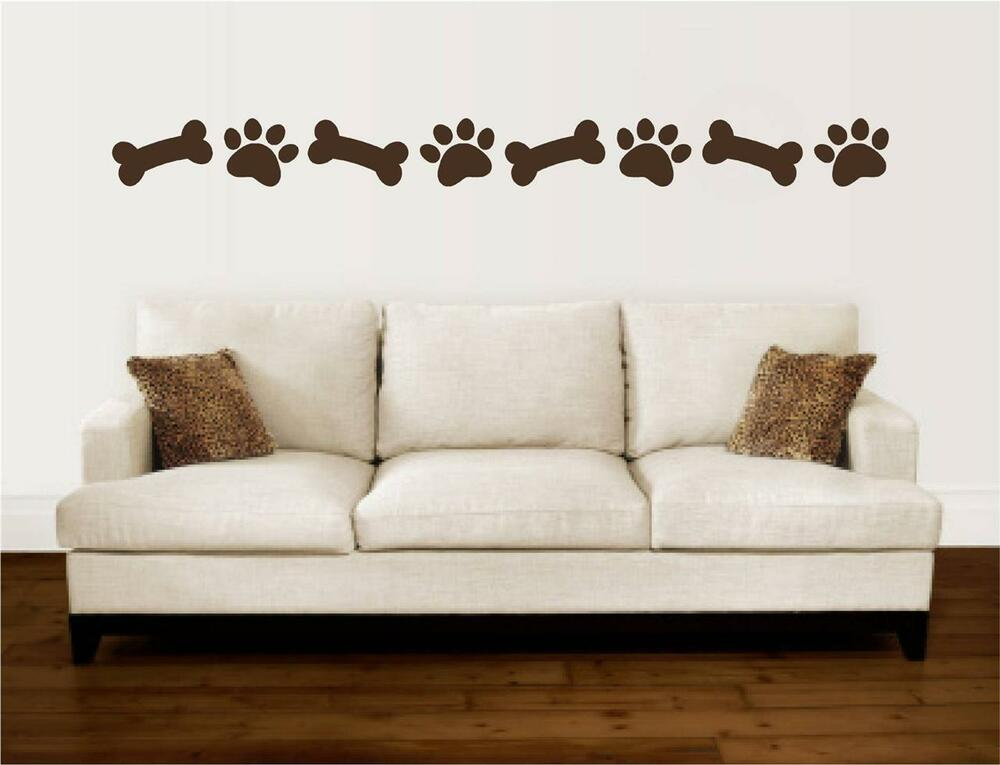Paw Prints Dog Bones Border Vinyl Decal Wall Art Stickers Letters Words Decor Ebay