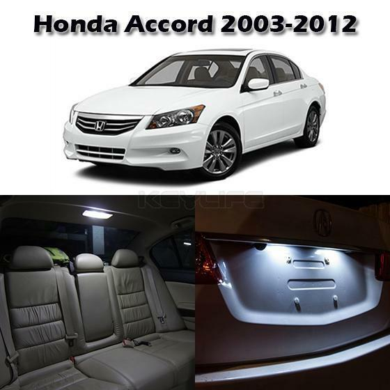 8x white interior led map dome license plate lights for honda accord 2003 2012 ebay. Black Bedroom Furniture Sets. Home Design Ideas