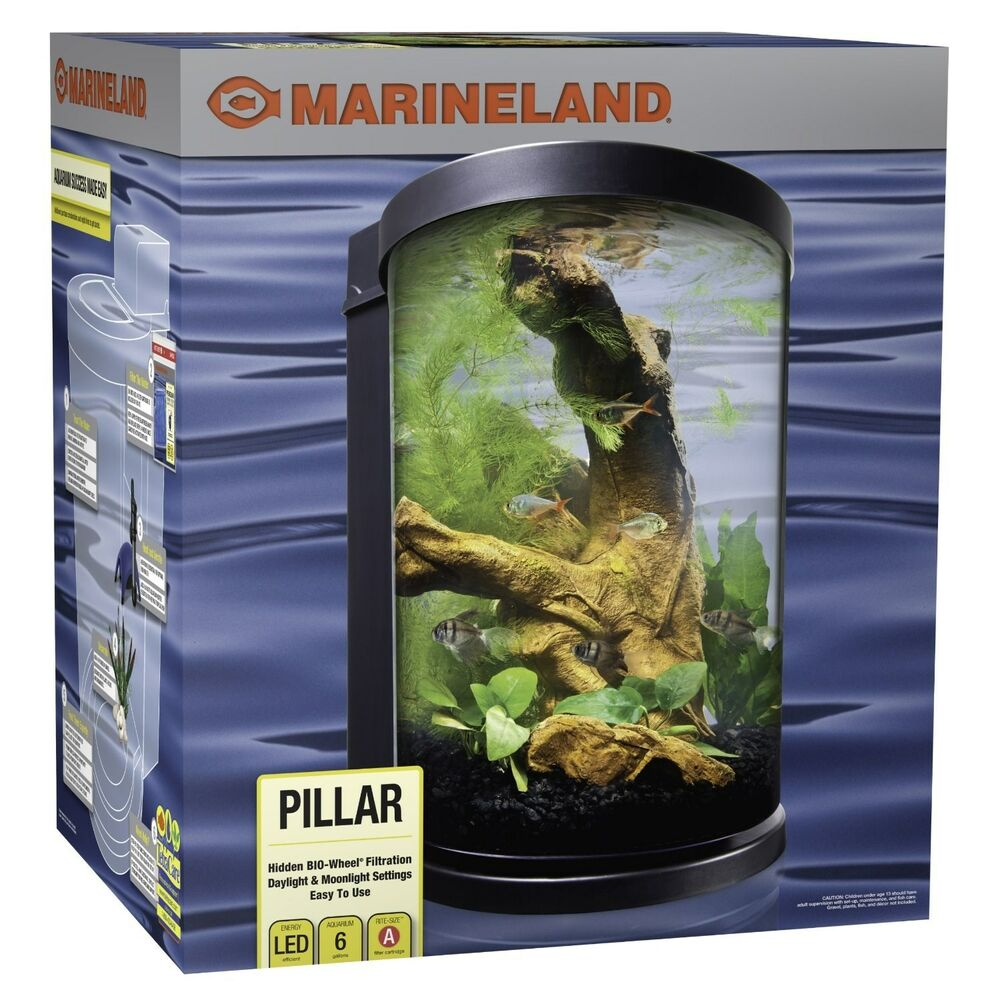 Marineland pillar fish tank kit 6 gallon capacity new ebay for Fish tanks for sale ebay