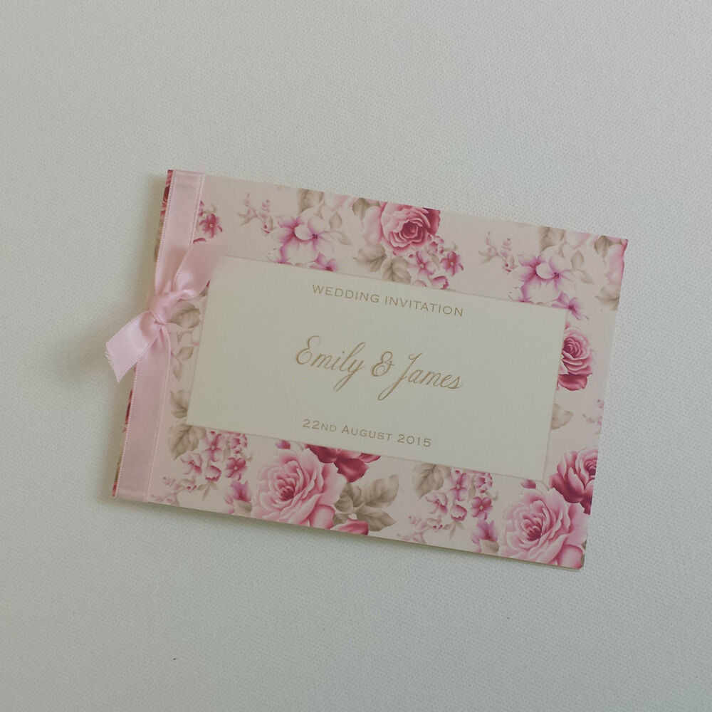 Wedding Invitations Rose: PERSONALISED PINK VINTAGE ROSE WEDDING INVITATIONS With