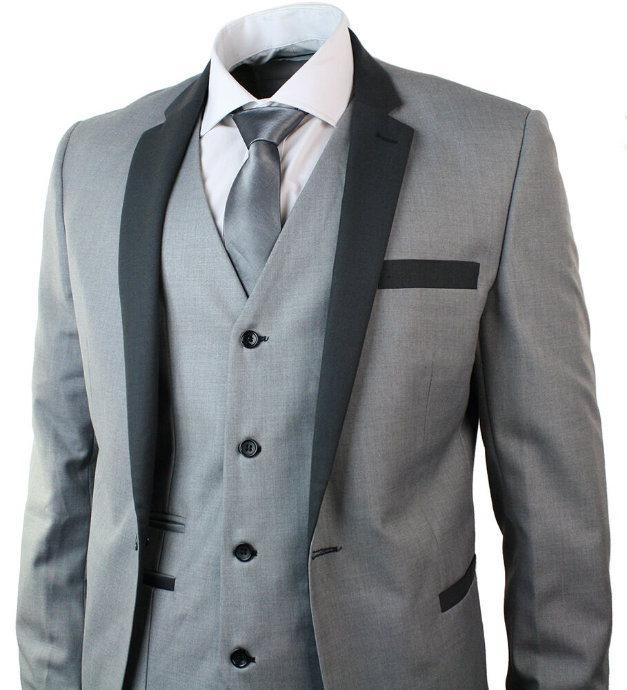 Wedding Suits: Mens 3 Piece Light Grey Suit Charcoal Trim Slim Fit