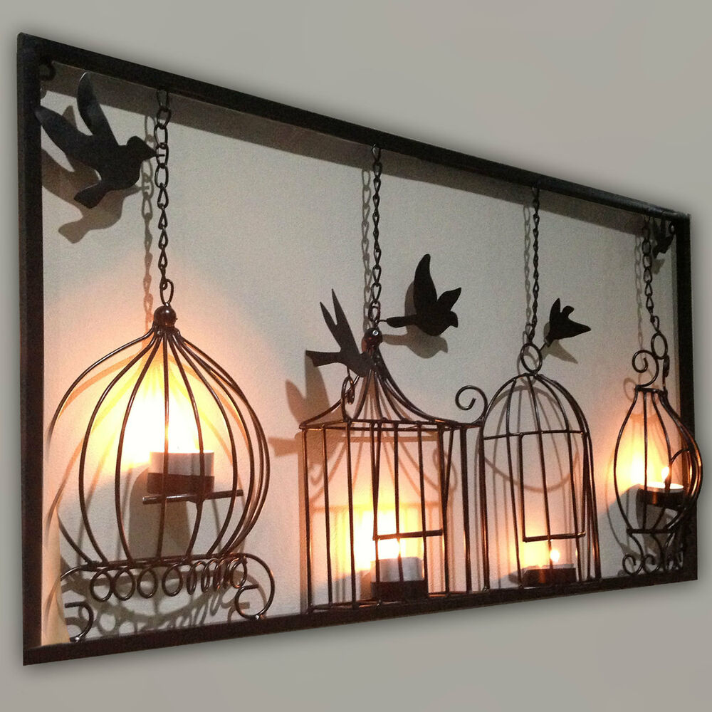 Birdcage tea light wall art metal wall hanging candle for Decor mural metal