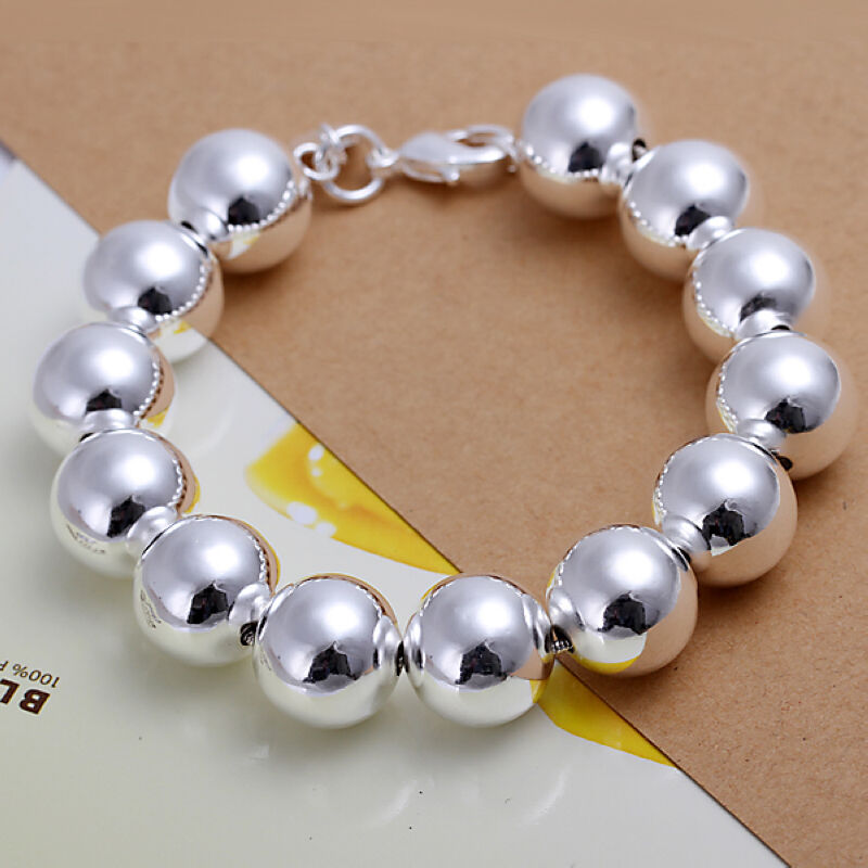 Silver Bracelets With Charms: Wholesale Sterling Solid Silver Fashion Charms 14mm Ball