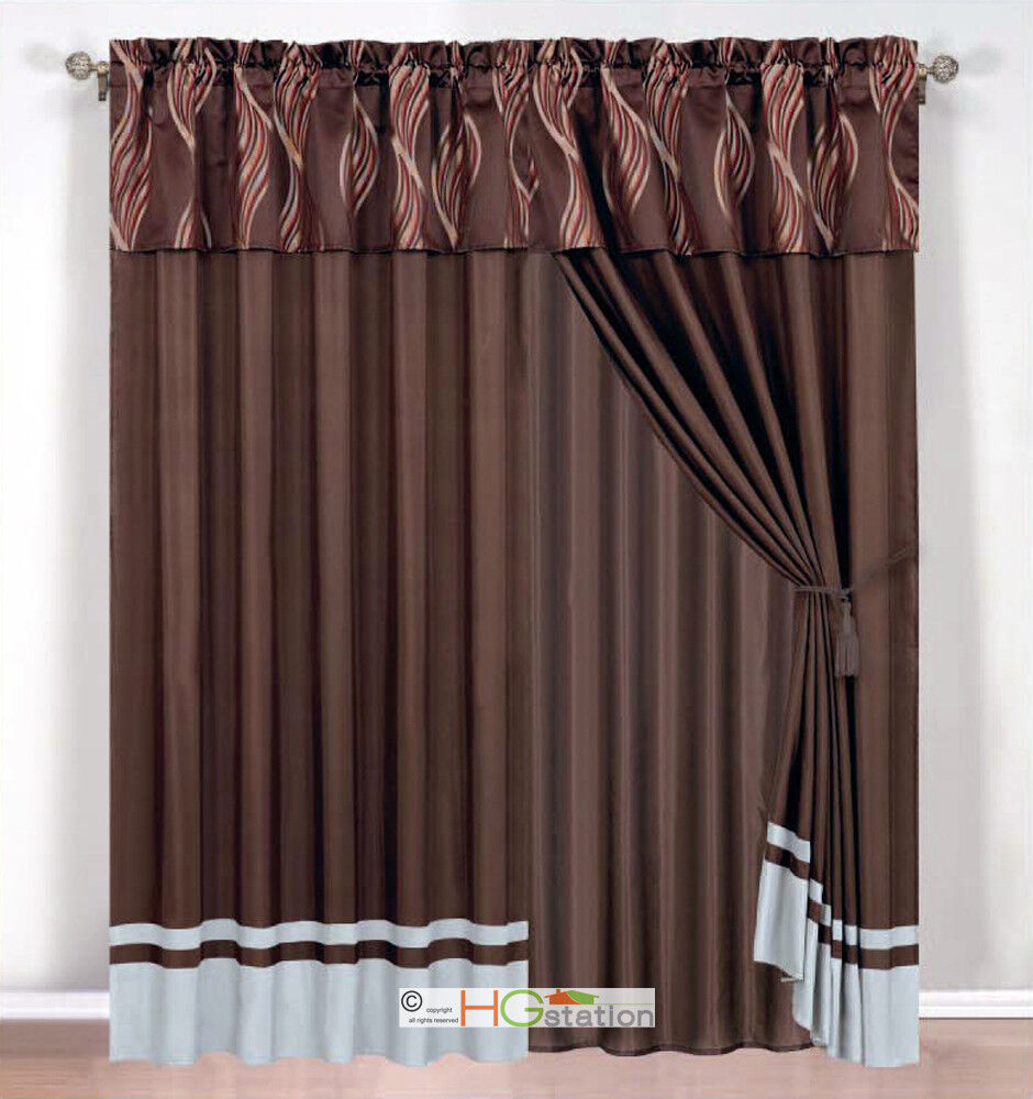 4-Pc Leaf Ribbon Scribble Jacquard Curtain Set Brown Gray ...