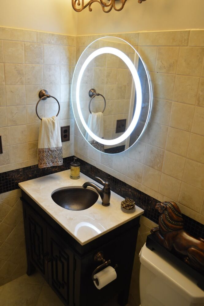 lighted vanity mirrors make up wall mounted 28 round mam1d28 ebay. Black Bedroom Furniture Sets. Home Design Ideas