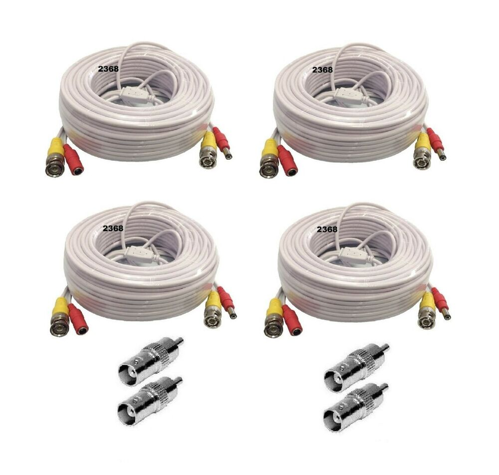 4 X 150ft Video Power Bnc Rca Cable For Night Owl Cctv