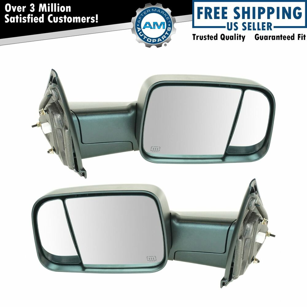 Mirror Power Heated Towing Side View Lh Amp Rh Pair For