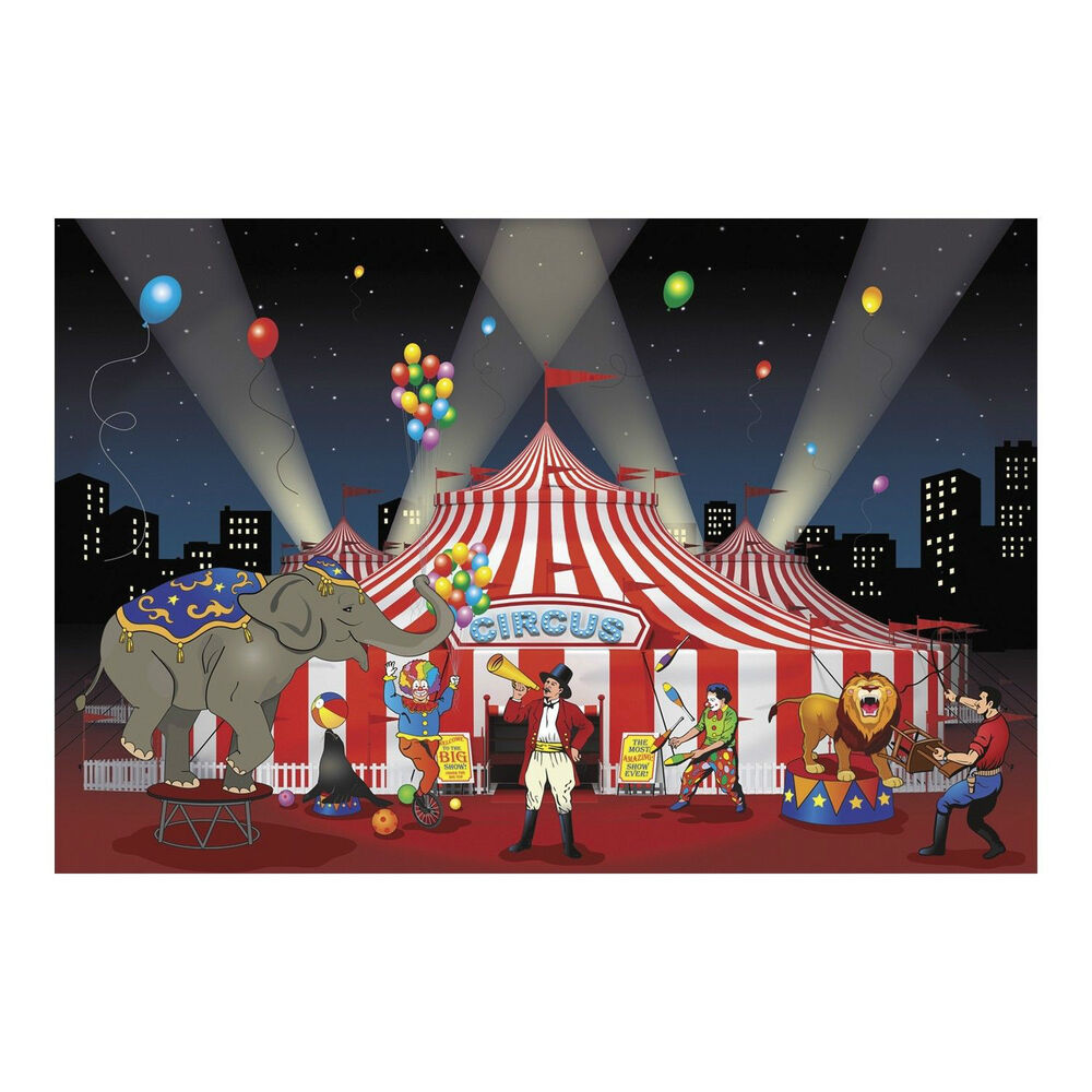 3pc Set Carnival Circus Big Top Party Decoration Backdrop