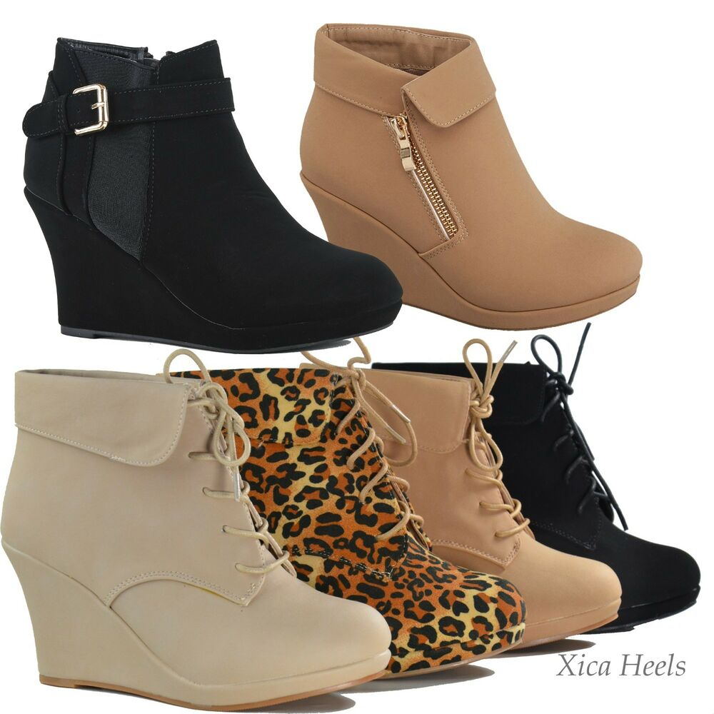 NEW Women&amp039s Ankle Wedge Heel Platform Lace Up Fashion Boots