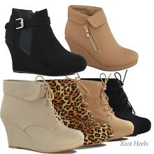 Women's Ankle Boots Wedge Almond Toe Platform Lace Up Fashion Shoes New