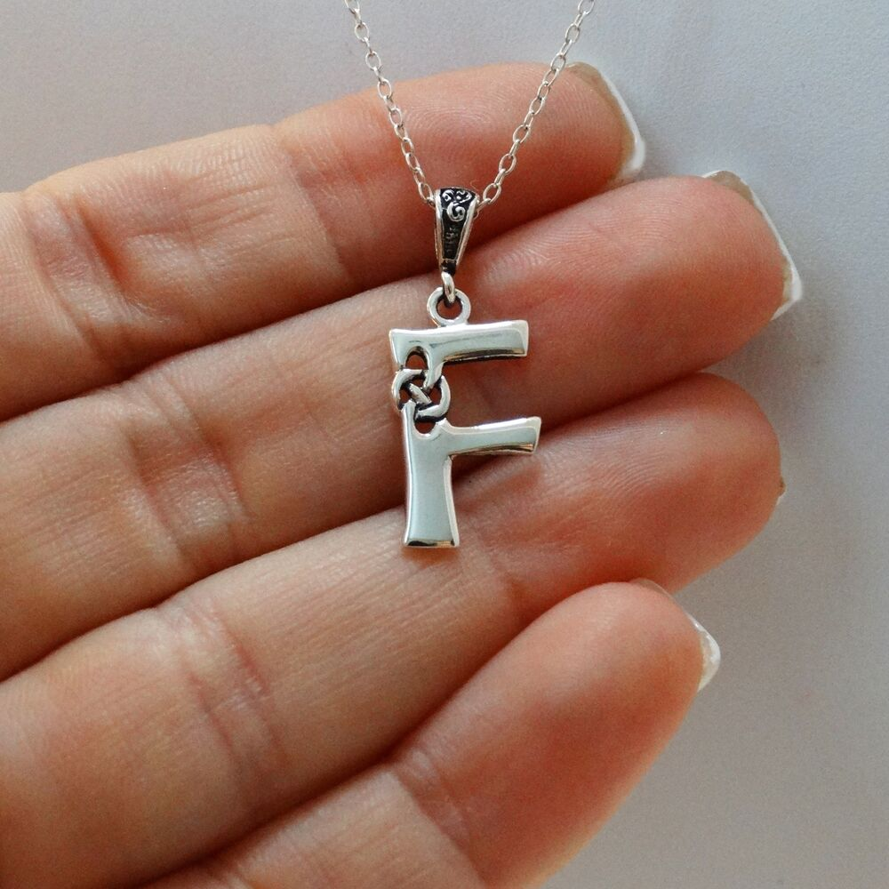 Celtic Initial Letter F Necklace 925 Sterling Silver