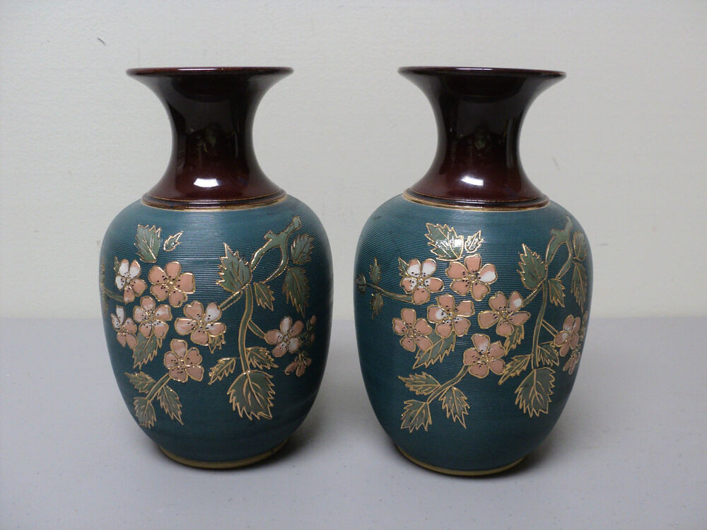 Unusual Pair Antique English Quot Langley Mills Quot Pottery Stoneware Vases Signed Ebay