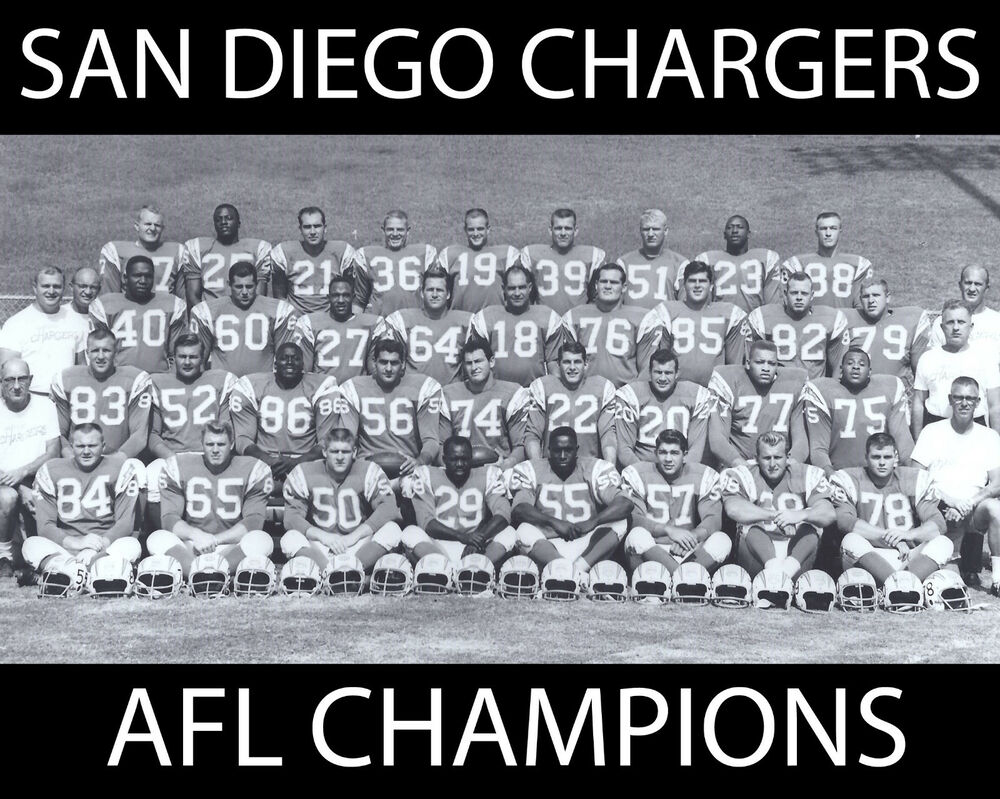 San Diego Chargers 1963 Afl Champions 8x10 B Amp W Team