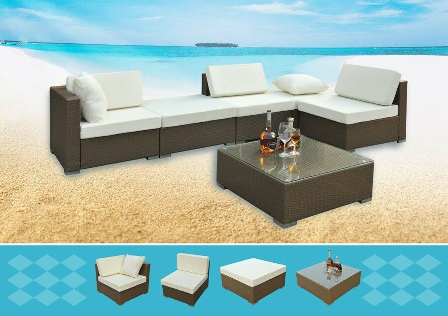 poly rattan sitzm bel 17tlg garten terrasse lounge alugestell naturfarben ebay. Black Bedroom Furniture Sets. Home Design Ideas