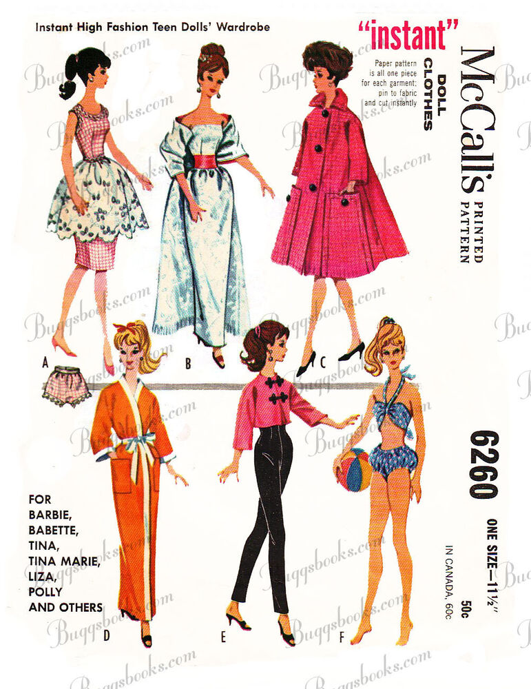 Vintage Barbie doll clothes sewing patterns - circa 1962 | eBay