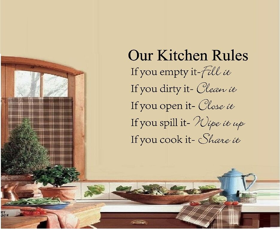 our kitchen rules vinyl wall quote saying words vinyl