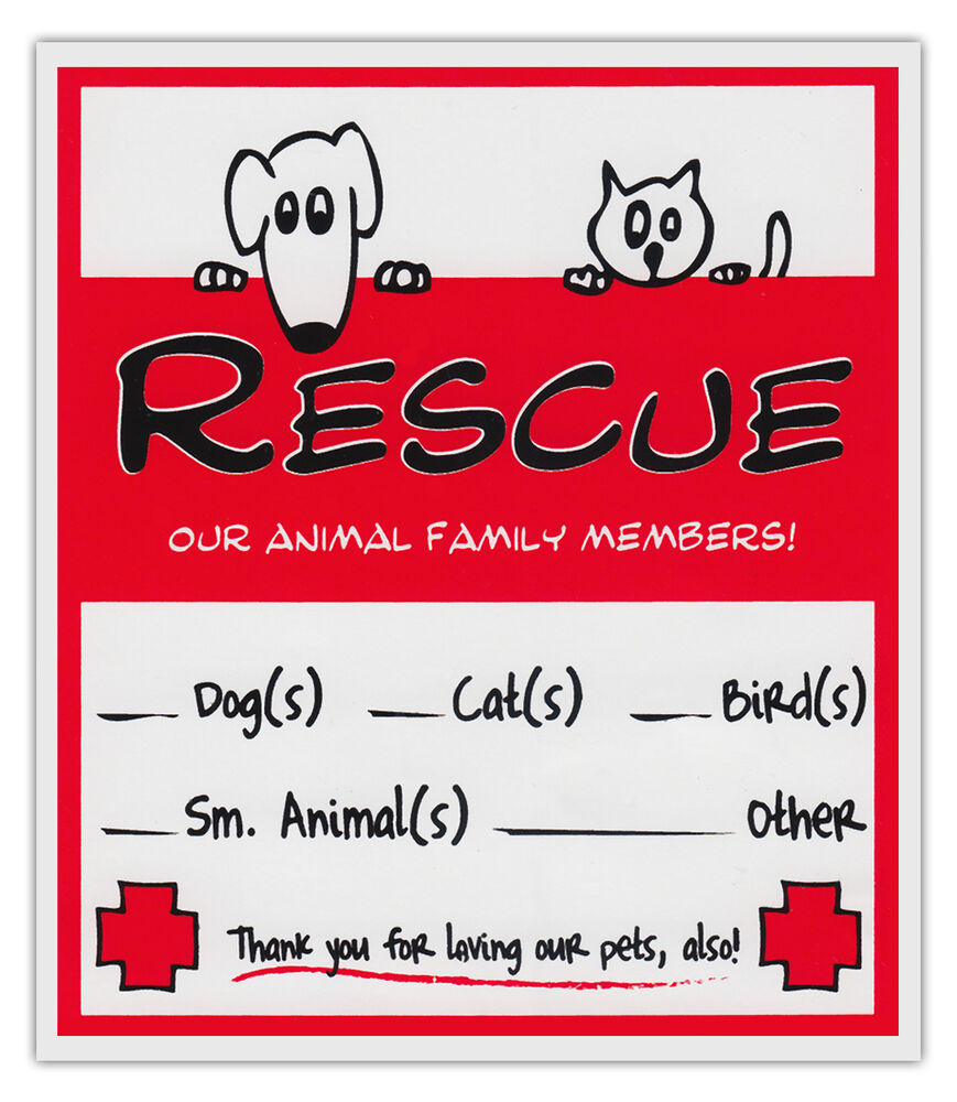 2-Pack Pet Rescue Alert To Fire Department | Window ...  |Rescue Window Decals