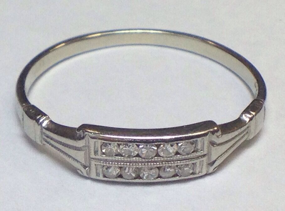 antique 18k white gold wedding ring womens